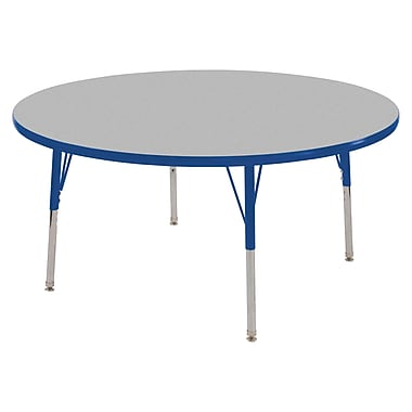 """60"""" Round T-Mold Activity Table, Grey/Blue/Standard Swivel"""