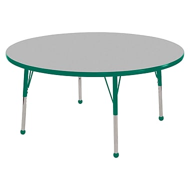 """48"""" Round T-Mold Activity Table, Grey/Green/Standard Ball"""