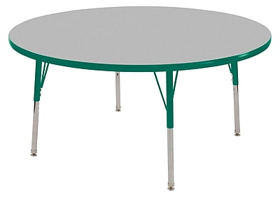 "60"" Round T-Mold Activity Table, Grey/Green/Standard Swivel"