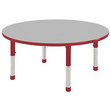 "30"" Round T-Mold Activity Table, Grey/Red/Chunky"