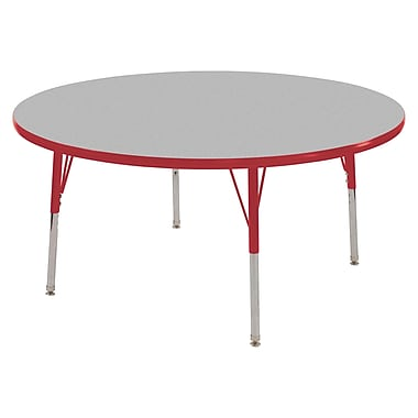 "48"" Round T-Mold Activity Table, Grey/Red/Standard Swivel"