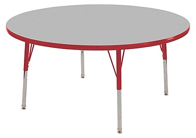 "36"" Round T-Mold Activity Table, Grey/Red/Toddler Swivel"