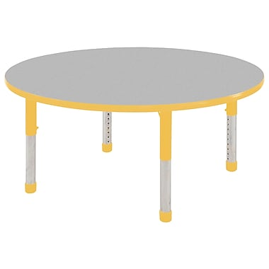 """36"""" Round T-Mold Activity Table, Grey/Yellow/Chunky"""