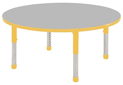 "30"" Round T-Mold Activity Table, Grey/Yellow/Chunky"