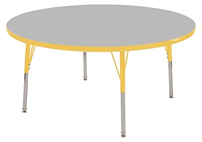 "60"" Round T-Mold Activity Table, Grey/Yellow/Toddler Swivel"