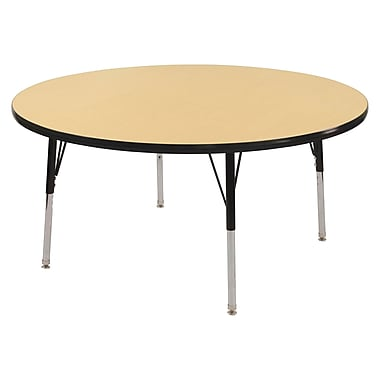 "48"" Round T-Mold Activity Table, Maple/Black/Standard Swivel"