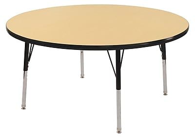 "36"" Round T-Mold Activity Table, Maple/Black/Standard Swivel"