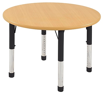 "36"" Round T-Mold Activity Table, Maple/Maple/Black/Chunky"