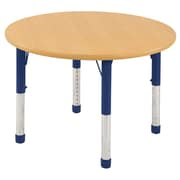 "ECR4Kids® 48"" Round Activity Table With Chunky legs & Standard Glide, Maple/Maple/Blue"