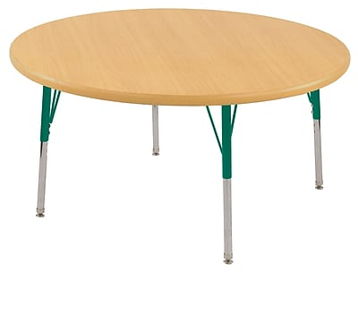 "30"" Round T-Mold Activity Table, Maple/Maple/Green/Toddler Swivel"