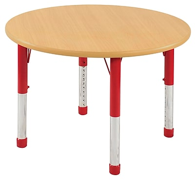 "36"" Round T-Mold Activity Table, Maple/Maple/Red/Chunky"