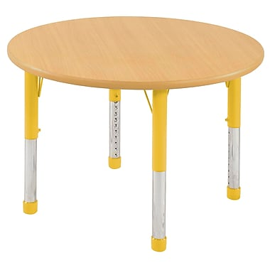 """48"""" Round T-Mold Activity Table, Maple/Maple/Yellow/Chunky"""