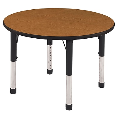 "30"" Round T-Mold Activity Table, Oak/Black/Chunky"