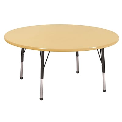 "60"" Round T-Mold Activity Table, Maple/Maple/Black/Toddler Ball"