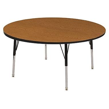 "36"" Round T-Mold Activity Table, Oak/Black/Toddler Swivel"