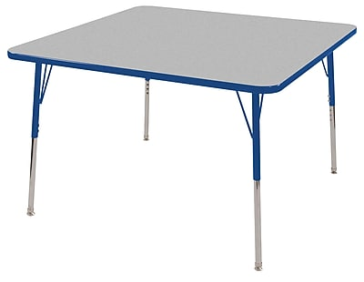 "30"" Square T-Mold Activity Table, Grey/Blue/Standard Swivel"