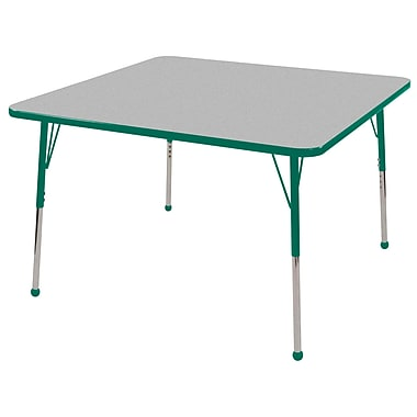 "48"" Square T-Mold Activity Table, Grey/Green/Standard Ball"