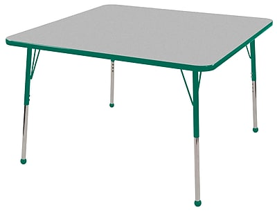 """30"""" Square T-Mold Activity Table, Grey/Green/Toddler Ball"""