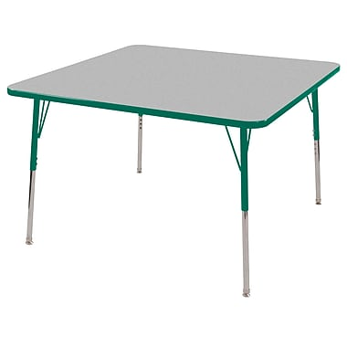"48"" Square T-Mold Activity Table, Grey/Green/Standard Swivel"
