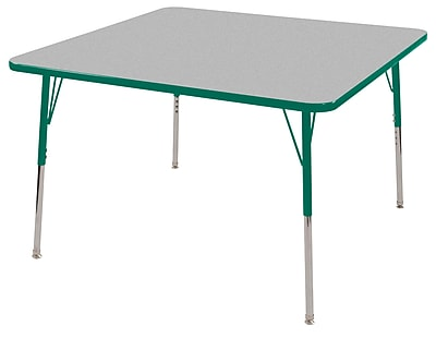"""48"""" Square T-Mold Activity Table, Grey/Green/Standard Swivel"""