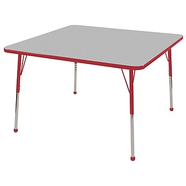 """48"""" Square T-Mold Activity Table, Grey/Red/Standard Ball"""
