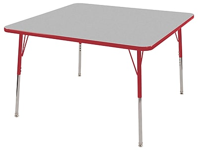 "30"" Square T-Mold Activity Table, Grey/Red/Standard Swivel"