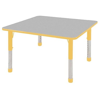 """30"""" Square T-Mold Activity Table, Grey/Yellow/Chunky"""