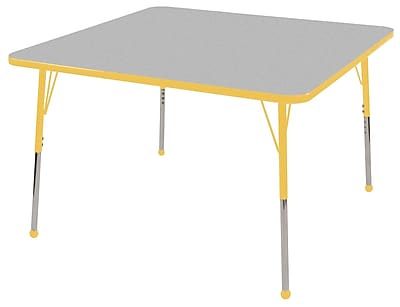 "48"" Square T-Mold Activity Table, Grey/Yellow/Standard Ball"