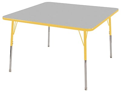 """30"""" Square T-Mold Activity Table, Grey/Yellow/Toddler Swivel"""