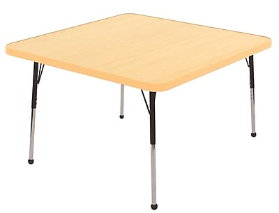 """30"""" Square T-Mold Activity Table, Maple/Maple/Black/Standard Ball"""
