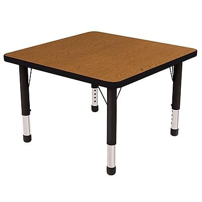 "30"" Square T-Mold Activity Table, Oak/Black/Chunky"