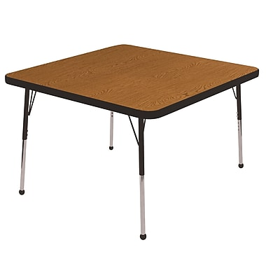 "30"" Square T-Mold Activity Table, Oak/Black/Standard Ball"