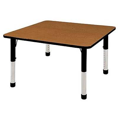"48"" Square T-Mold Activity Table, Oak/Black/Chunky"