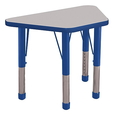 "18""x30"" Trapezoid T-Mold Activity Table, Grey/Blue/Chunky"
