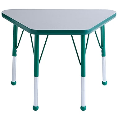 "18""x30"" Trapezoid T-Mold Activity Table, Grey/Green/Standard Ball"