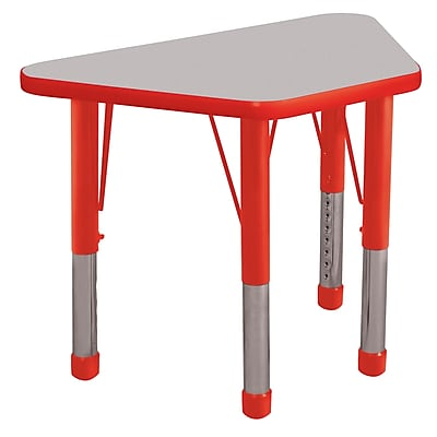 "18""x30"" Trapezoid T-Mold Activity Table, Grey/Red/Chunky"
