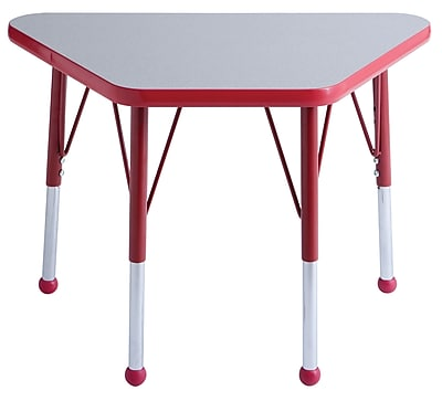 "18""x30"" Trapezoid T-Mold Activity Table, Grey/Red/Standard Ball"