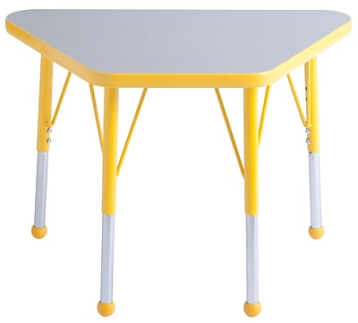 "18""x30"" Trapezoid T-Mold Activity Table, Grey/Yellow/Standard Ball"