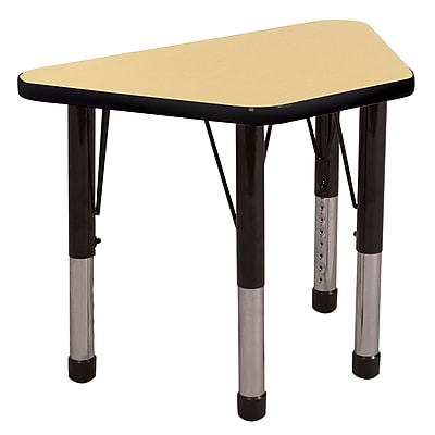 "30""x60"" Trapezoid T-Mold Activity Table, Maple/Black/Chunky"