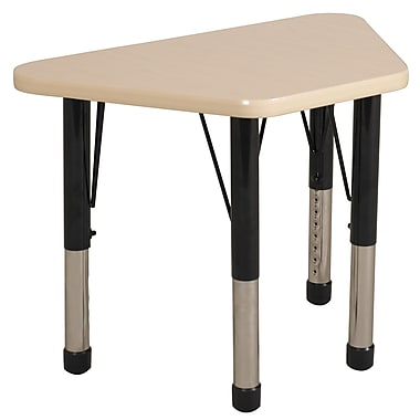 "18""x30"" Trapezoid T-Mold Activity Table, Maple/Maple/Black/Chunky"