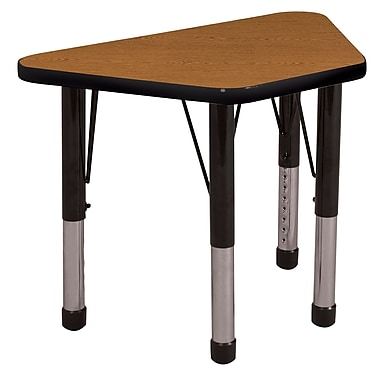 "18""x30"" Trapezoid T-Mold Activity Table, Oak/Black/Chunky"