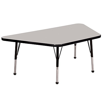 "30""x60"" Trapezoid T-Mold Activity Table, Grey/Black/Standard Ball"