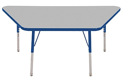 "30""x60"" Trapezoid T-Mold Activity Table, Grey/Blue/Standard Swivel"