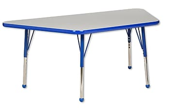 "30""x60"" Trapezoid T-Mold Activity Table, Grey/Blue/Standard Ball"