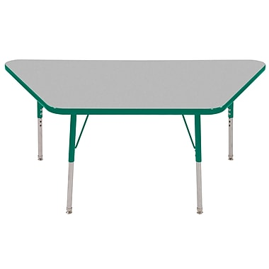 """30""""x60"""" Trapezoid T-Mold Activity Table, Grey/Green/Toddler Swivel"""