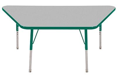 "30""x60"" Trapezoid T-Mold Activity Table, Grey/Green/Standard Swivel"