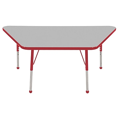 """30""""x60"""" Trapezoid T-Mold Activity Table, Grey/Red/Standard Ball"""