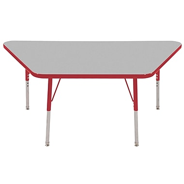 "30""x60"" Trapezoid T-Mold Activity Table, Grey/Red/Toddler Swivel"