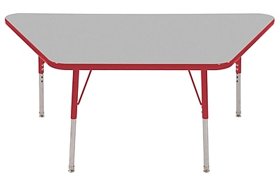 "30""x60"" Trapezoid T-Mold Activity Table, Grey/Red/Standard Swivel"
