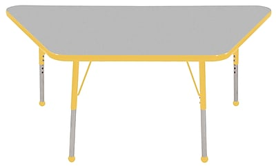 "30""x60"" Trapezoid T-Mold Activity Table, Grey/Yellow/Standard Ball"